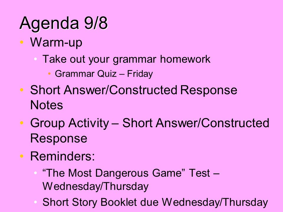 Agenda 9/8 Warm-up Short Answer/Constructed Response Notes