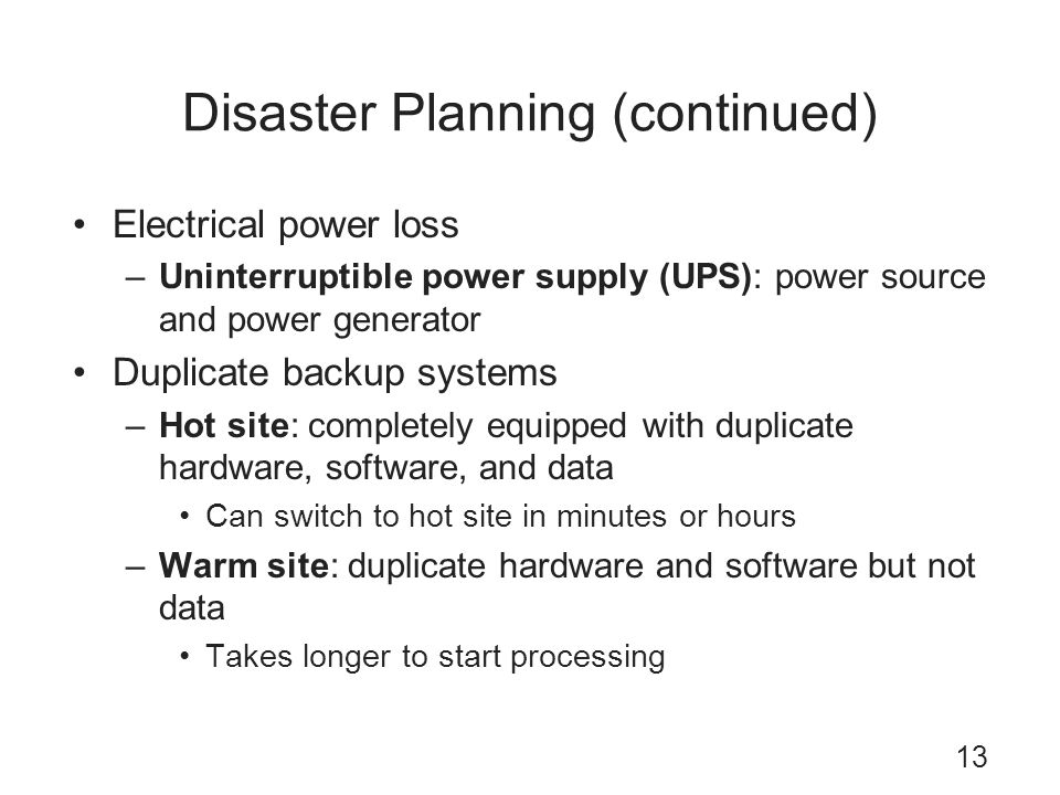 Disaster Planning (continued)