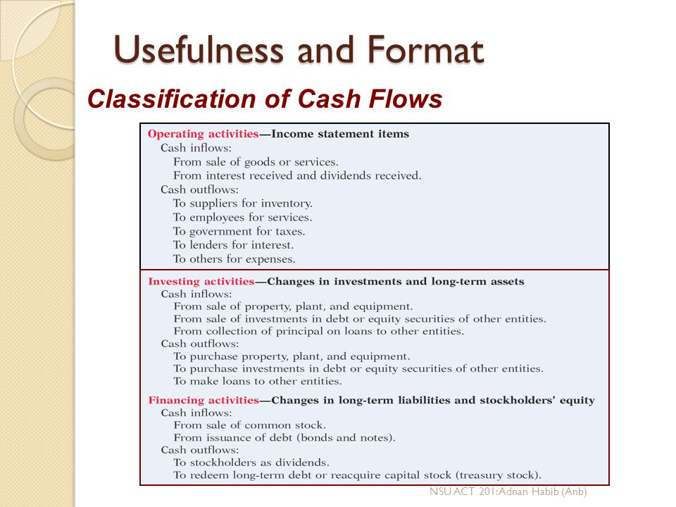 Usefulness and Format Classification of Cash Flows
