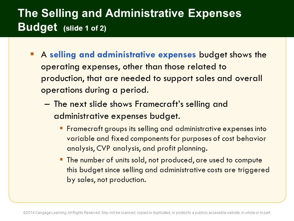 the selling and administrative expenses budget slide 1 of 2