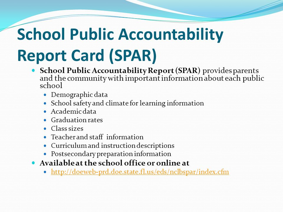 School Public Accountability Report Card (SPAR)
