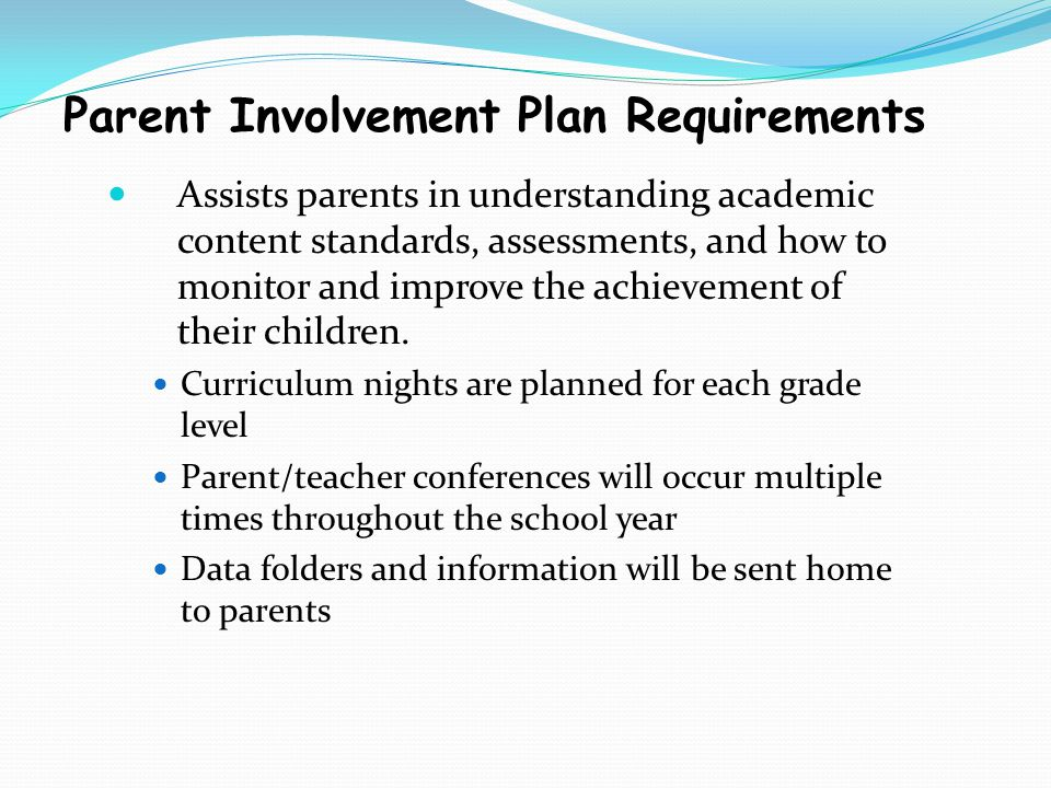 Parent Involvement Plan Requirements