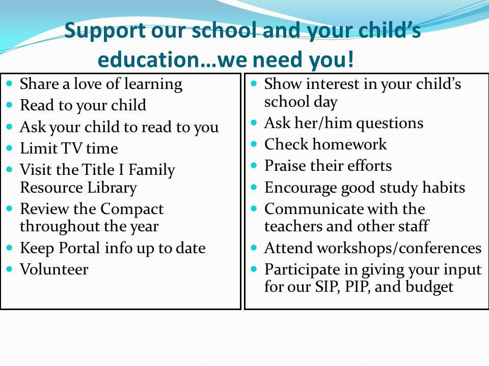Support our school and your child's education…we need you!