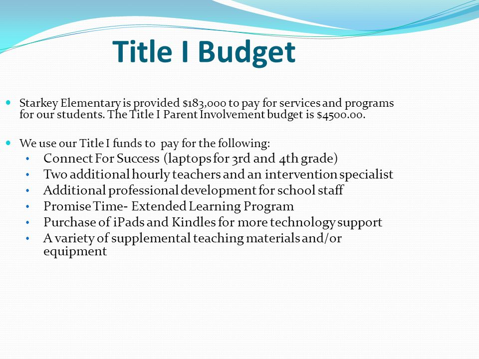 Title I Budget Connect For Success (laptops for 3rd and 4th grade)