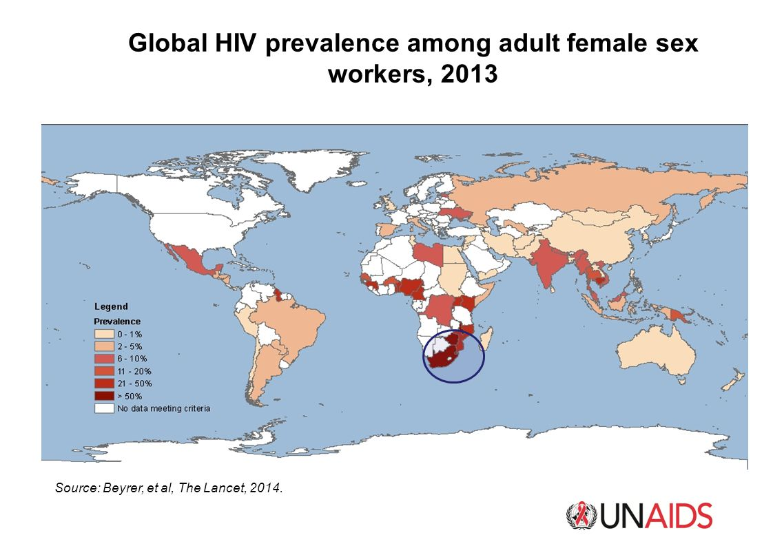 Global HIV prevalence among adult female sex workers, 2013