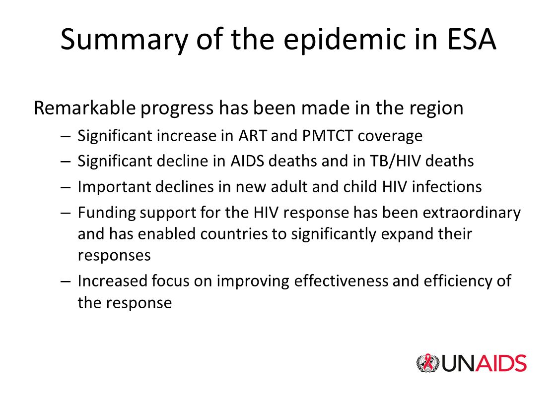 Summary of the epidemic in ESA