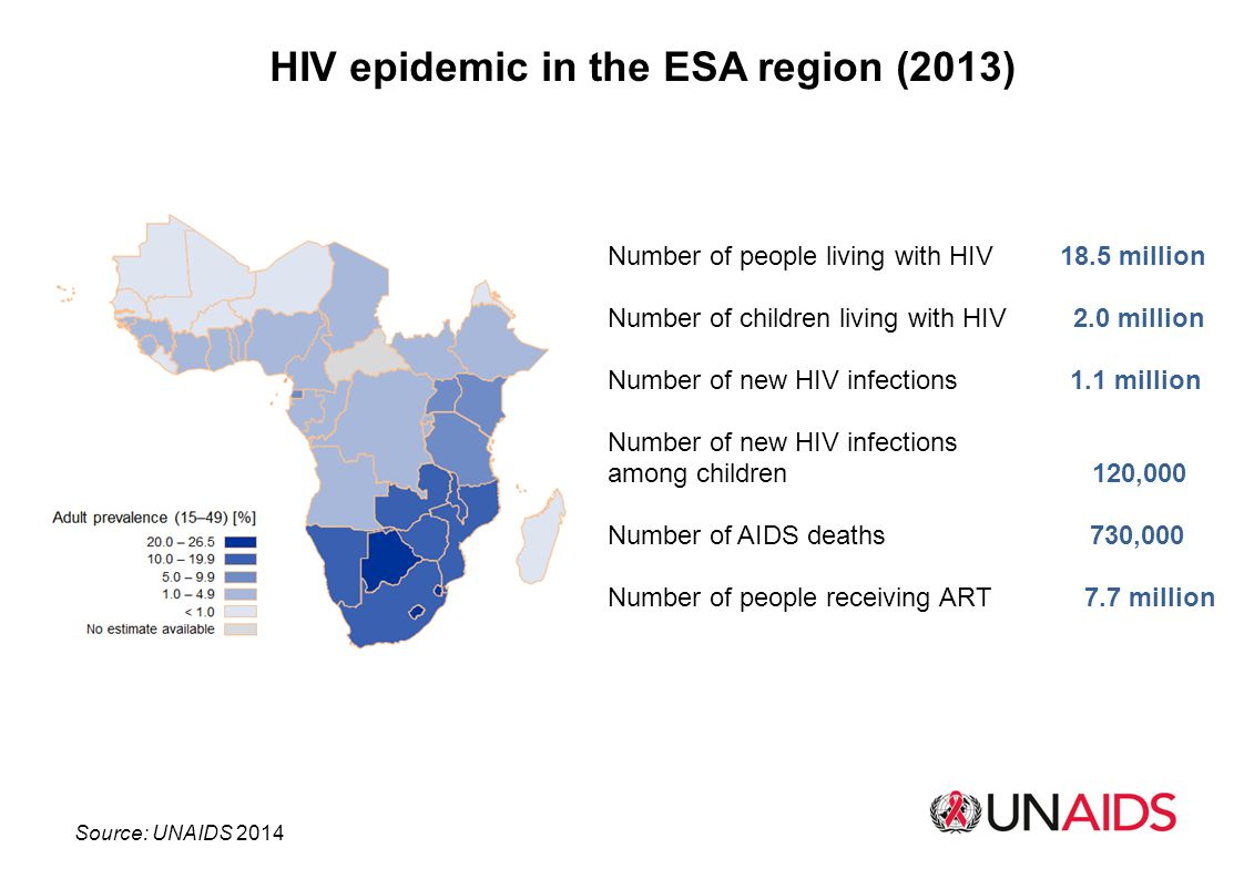 HIV epidemic in the ESA region (2013)