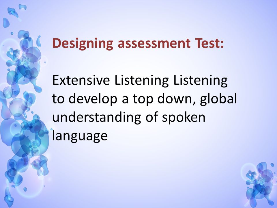 Designing assessment Test: