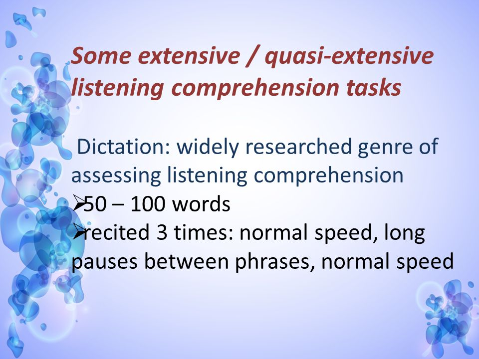 Some extensive / quasi-extensive listening comprehension tasks