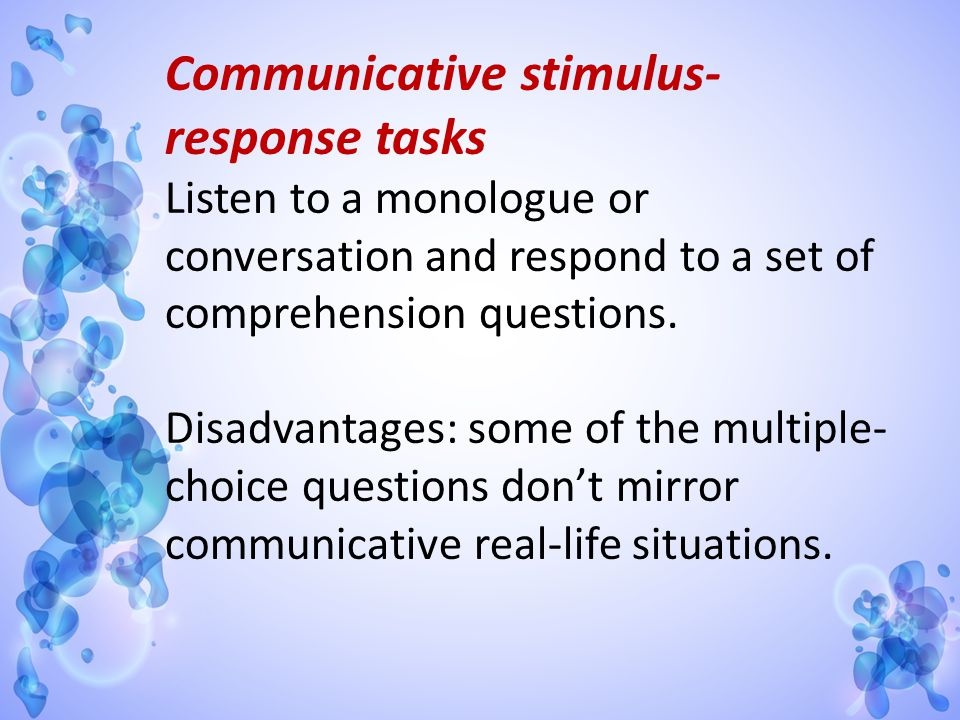 Communicative stimulus-response tasks