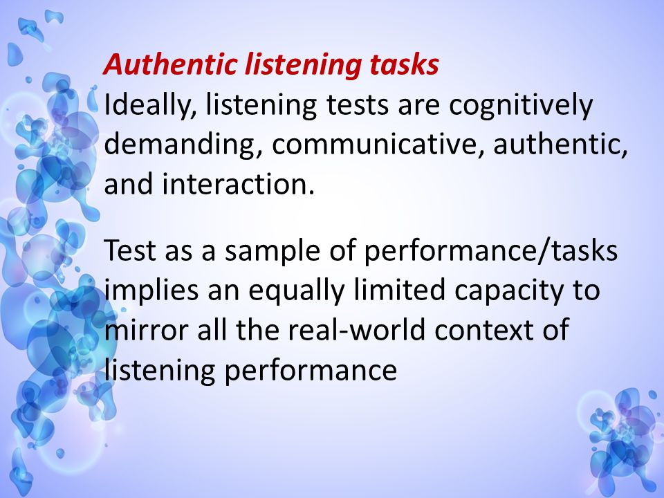 Authentic listening tasks