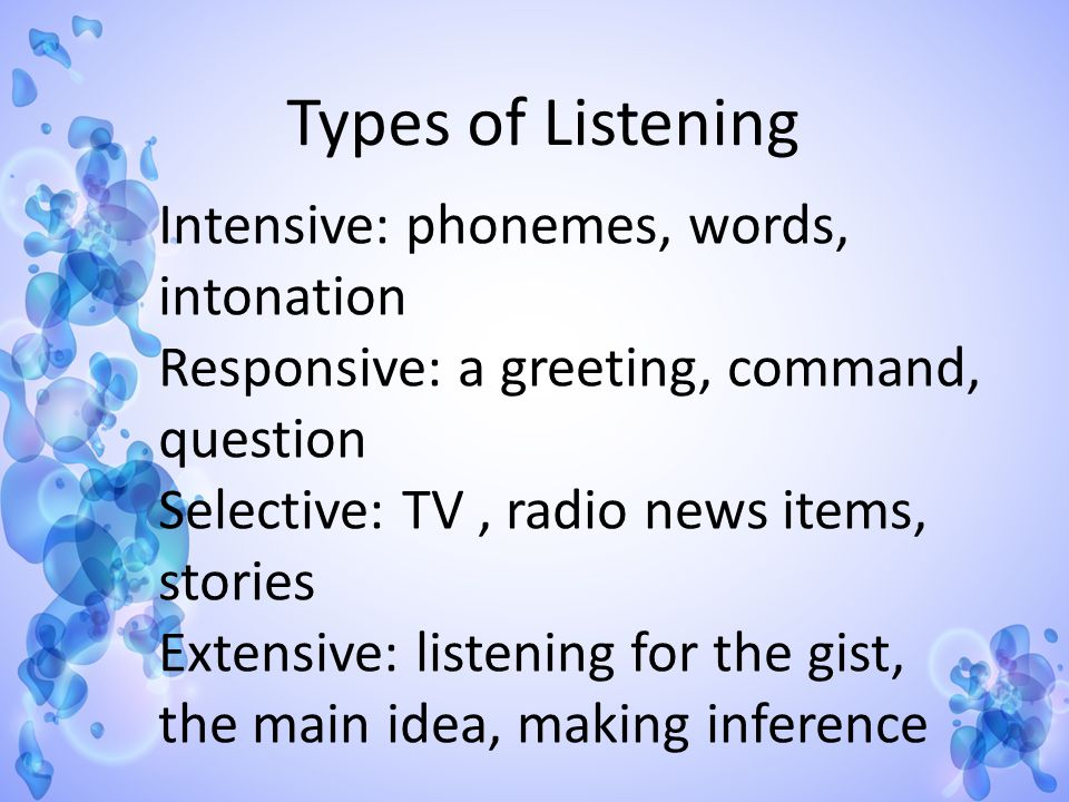 Types of Listening Intensive: phonemes, words, intonation