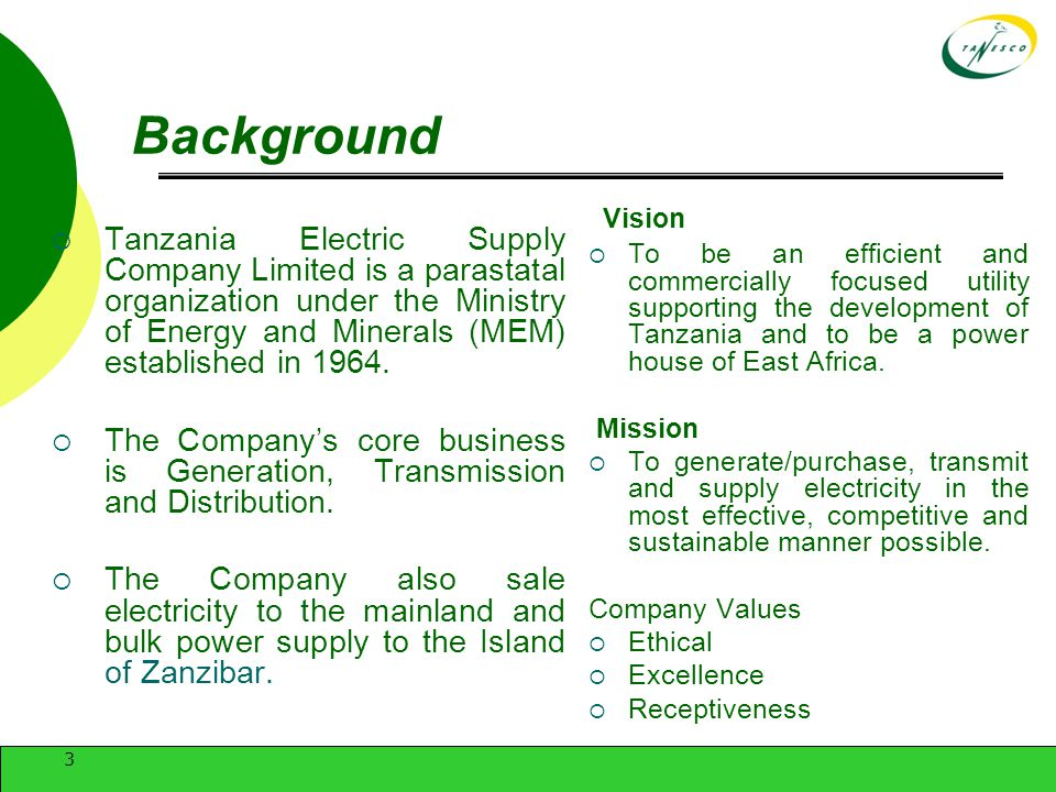 TANZANIA ELECTRIC SUPPLY COMPANY LTD - ppt video online download