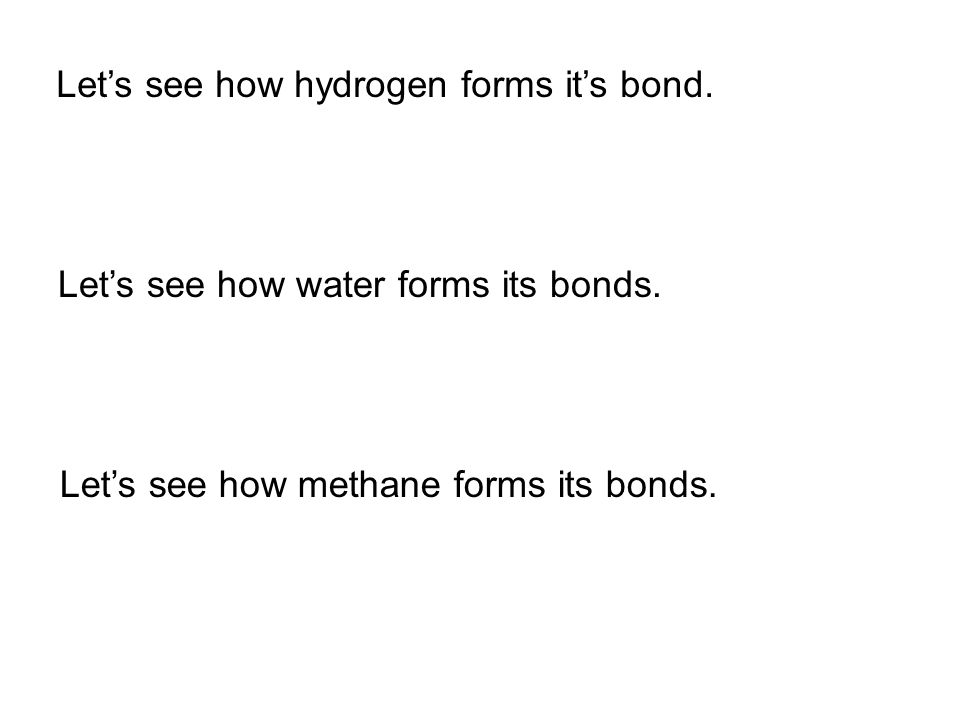 Let's see how hydrogen forms it's bond.