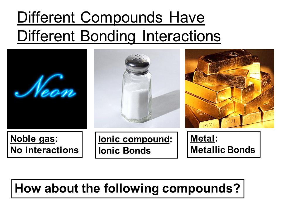 Different Compounds Have Different Bonding Interactions