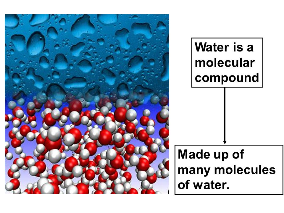 Water is a molecular compound Made up of many molecules of water.