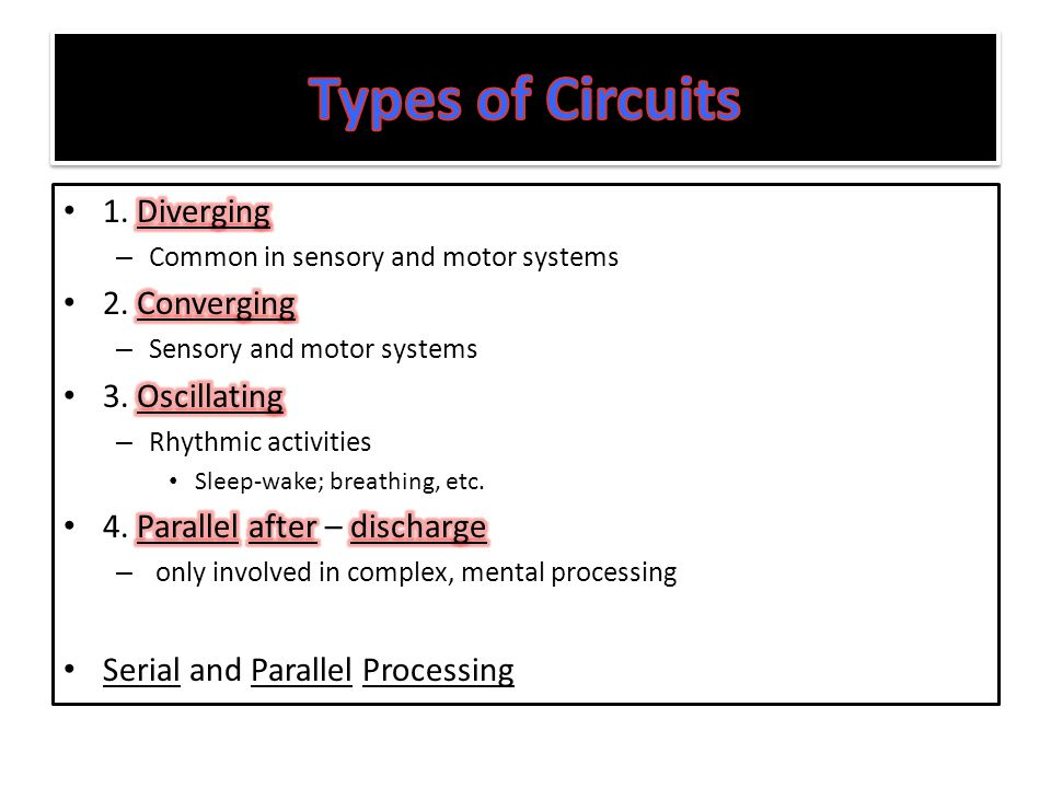 Types of Circuits 1. Diverging 2. Converging 3. Oscillating
