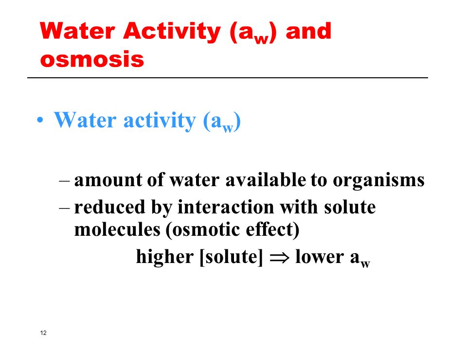 Water Activity (aw) and osmosis
