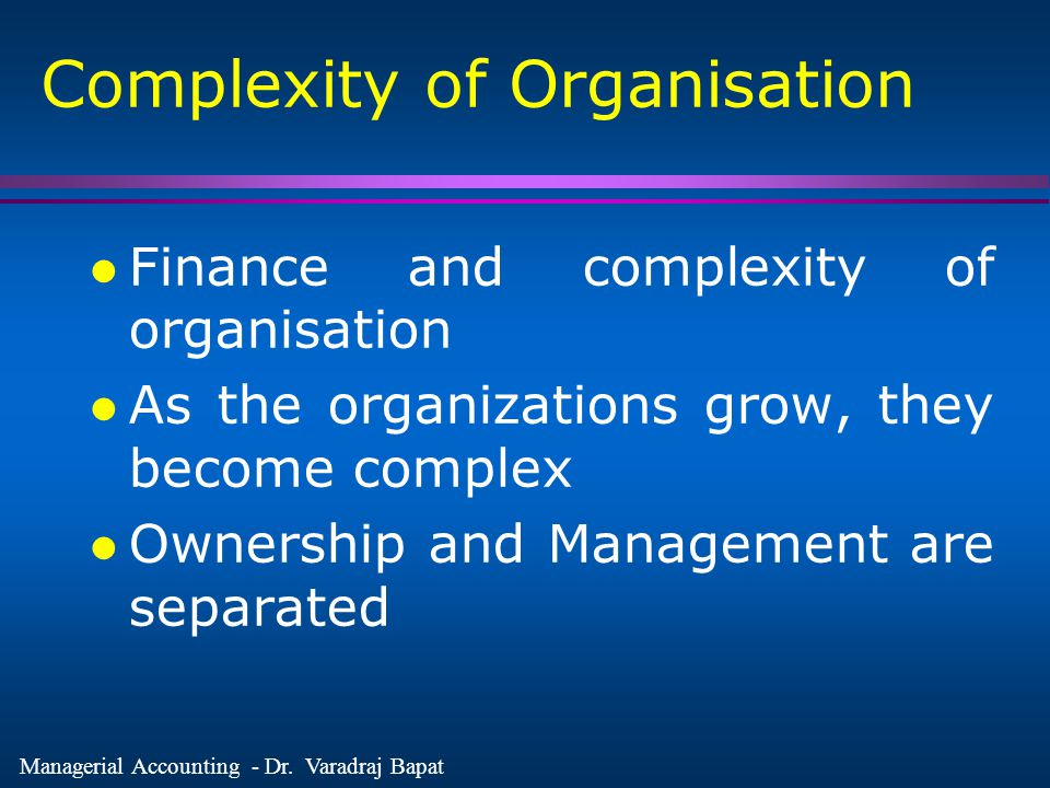 Complexity of Organisation
