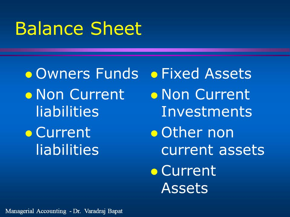 Balance Sheet Owners Funds Non Current liabilities Current liabilities