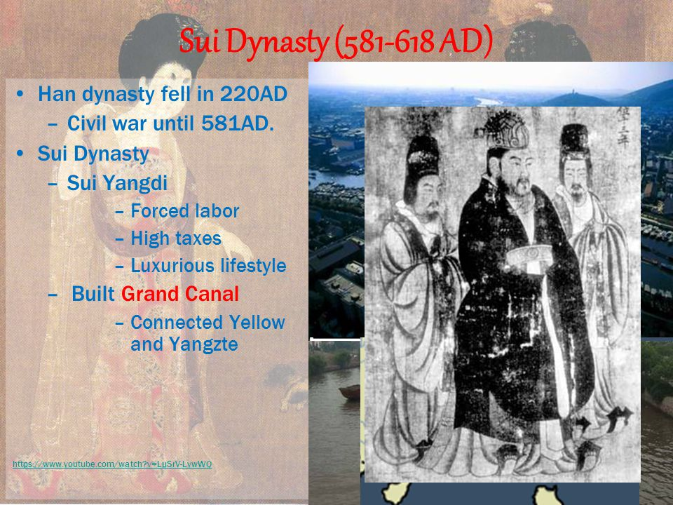 Sui Dynasty ( AD) Han dynasty fell in 220AD