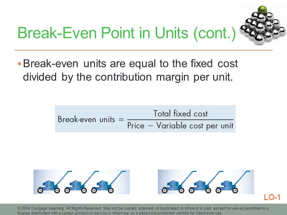 Break-Even Point in Units (cont.)