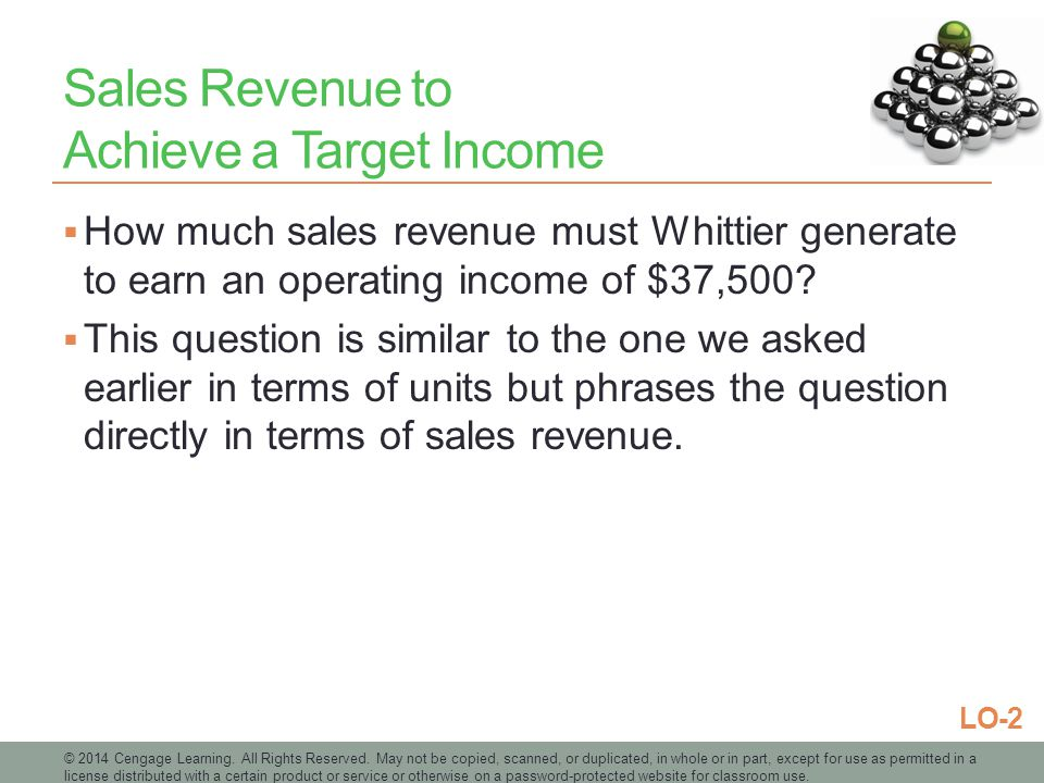 Sales Revenue to Achieve a Target Income