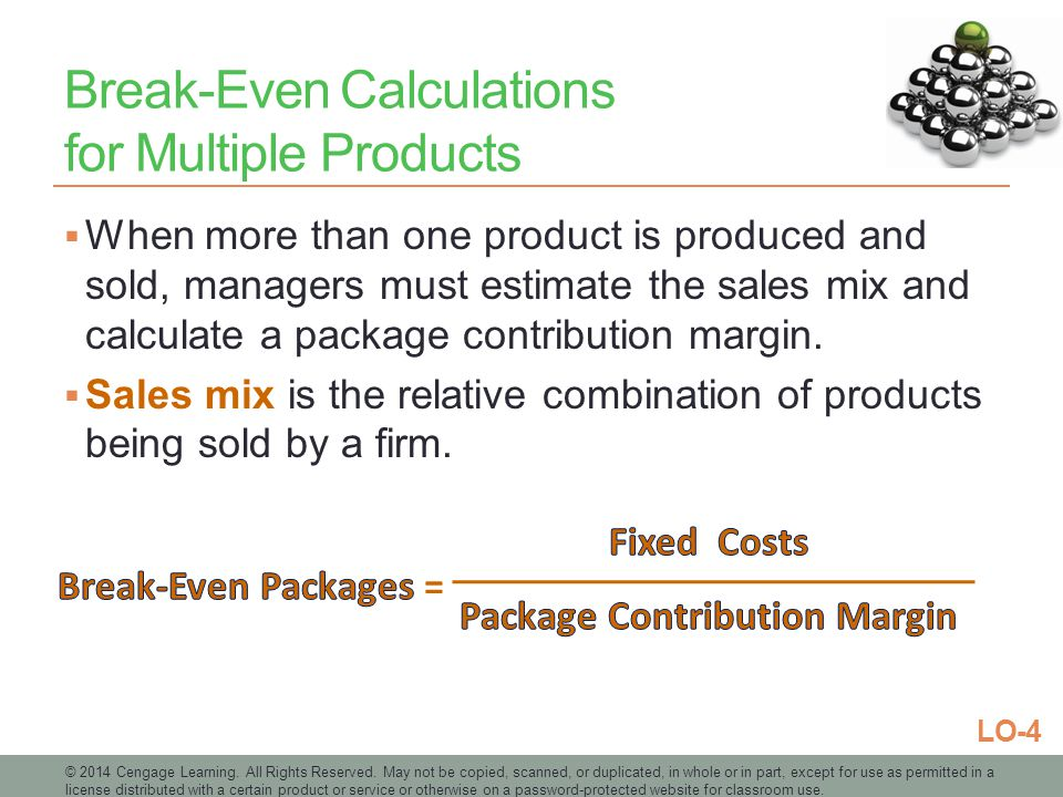 Break-Even Calculations for Multiple Products