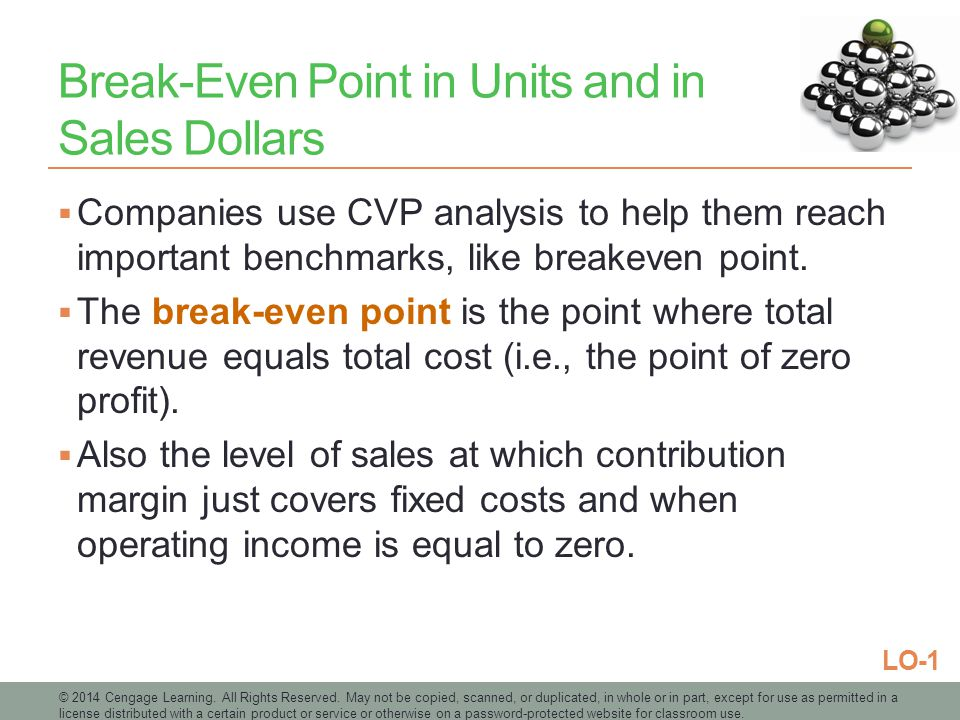Break-Even Point in Units and in Sales Dollars