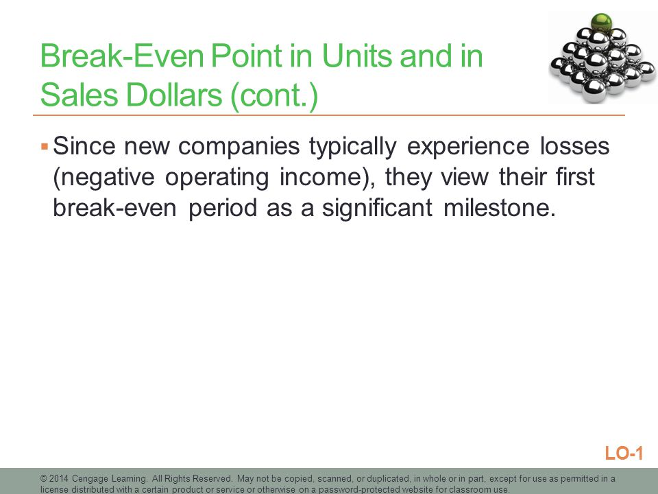 Break-Even Point in Units and in Sales Dollars (cont.)