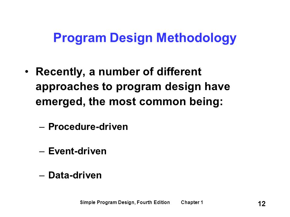 Program Design Methodology