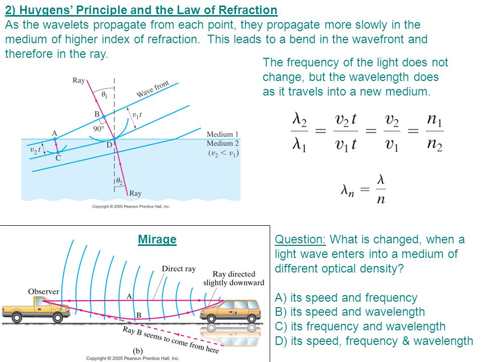 2) Huygens' Principle and the Law of Refraction