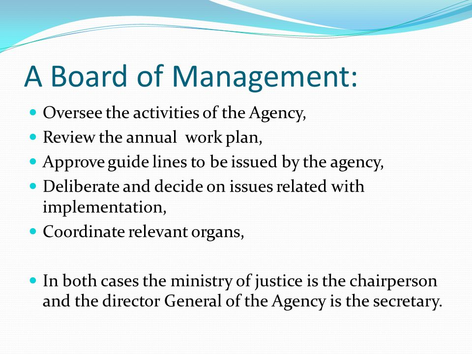 A Board of Management: Oversee the activities of the Agency,