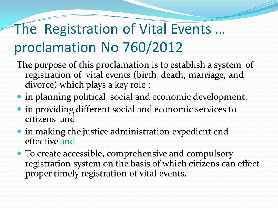 The Registration of Vital Events … proclamation No 760/2012