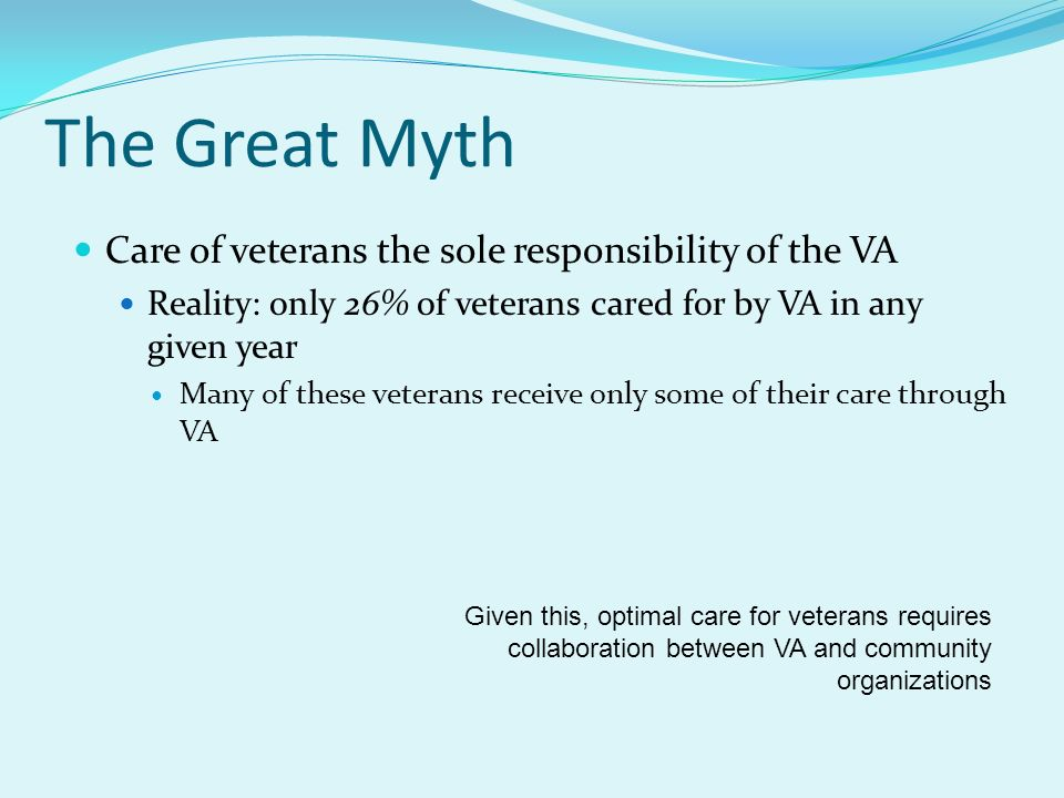 The Great Myth Care of veterans the sole responsibility of the VA