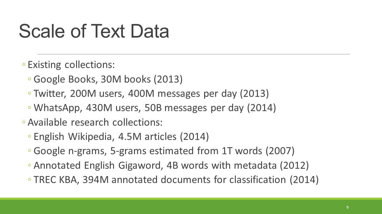 Scale of Text Data Existing collections: