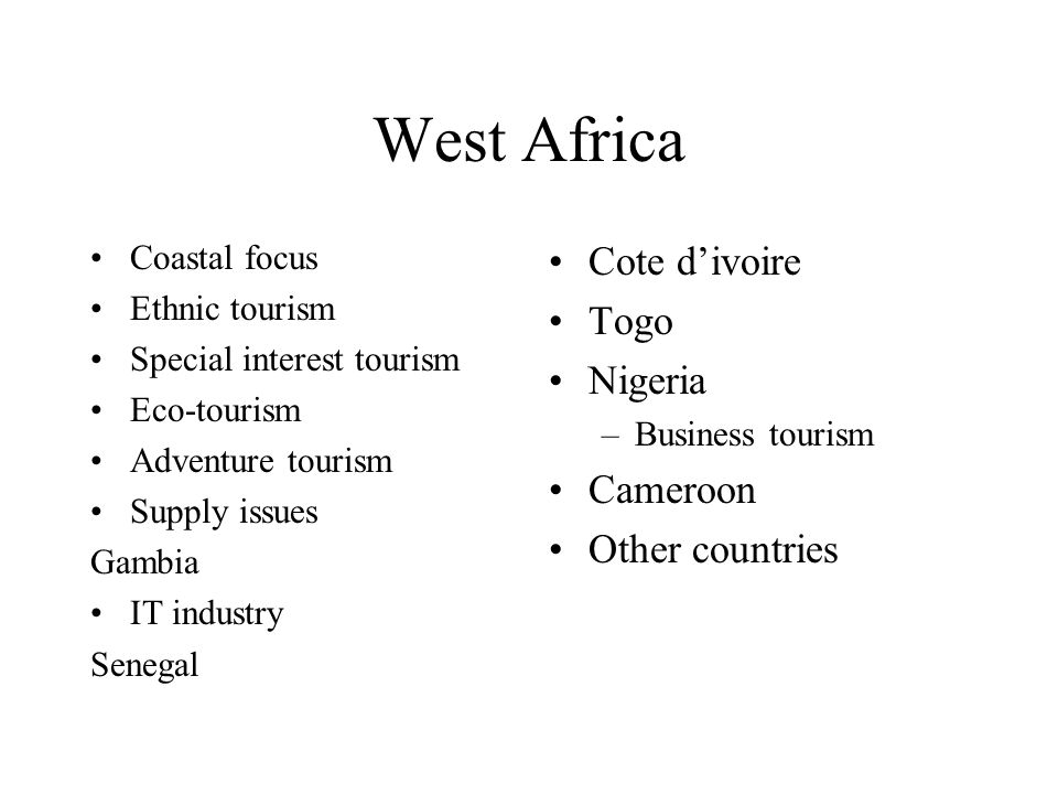 West Africa Cote d'ivoire Togo Nigeria Cameroon Other countries