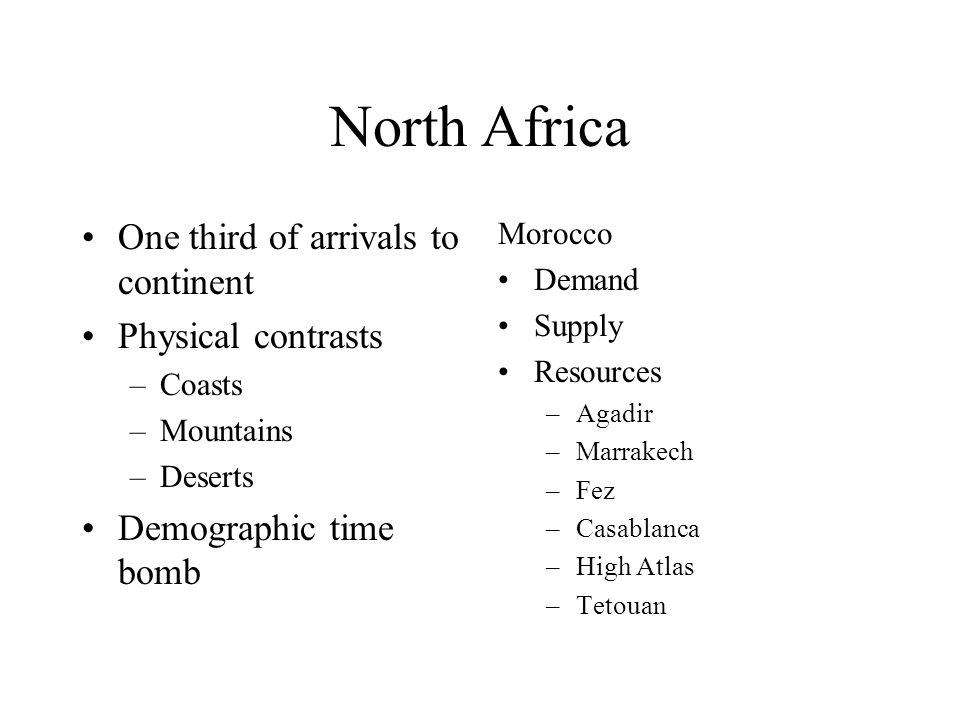 North Africa One third of arrivals to continent Physical contrasts