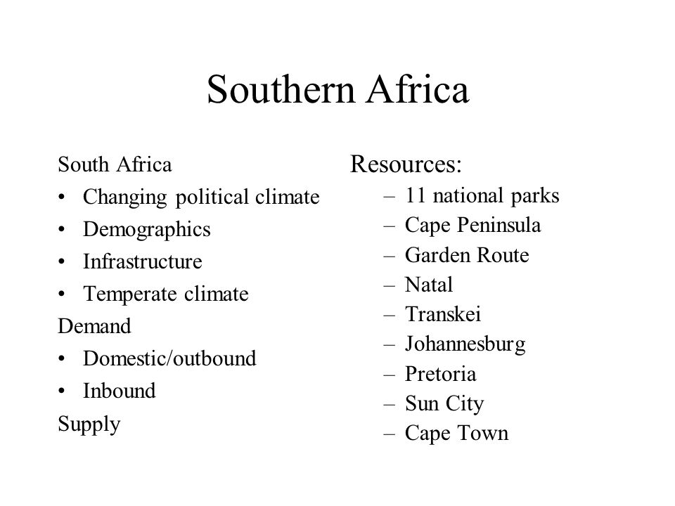 Southern Africa Resources: South Africa Changing political climate