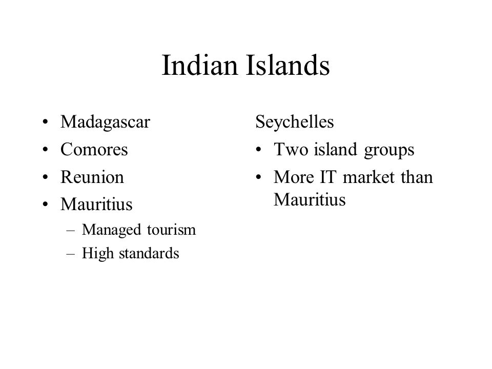 Indian Islands Madagascar Comores Reunion Mauritius Seychelles