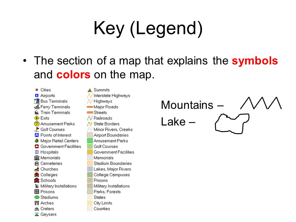 Map Key Legend Key (Legend) The section of a map that explains the symbols and