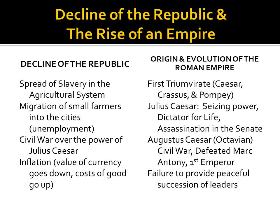 Decline of the Republic & The Rise of an Empire