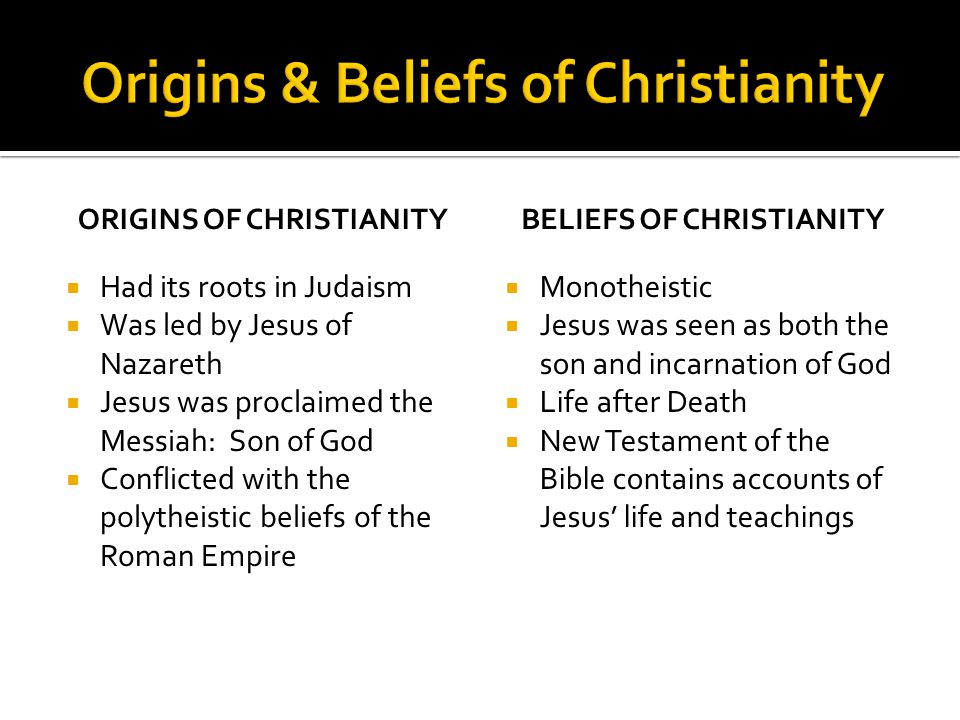 Origins & Beliefs of Christianity