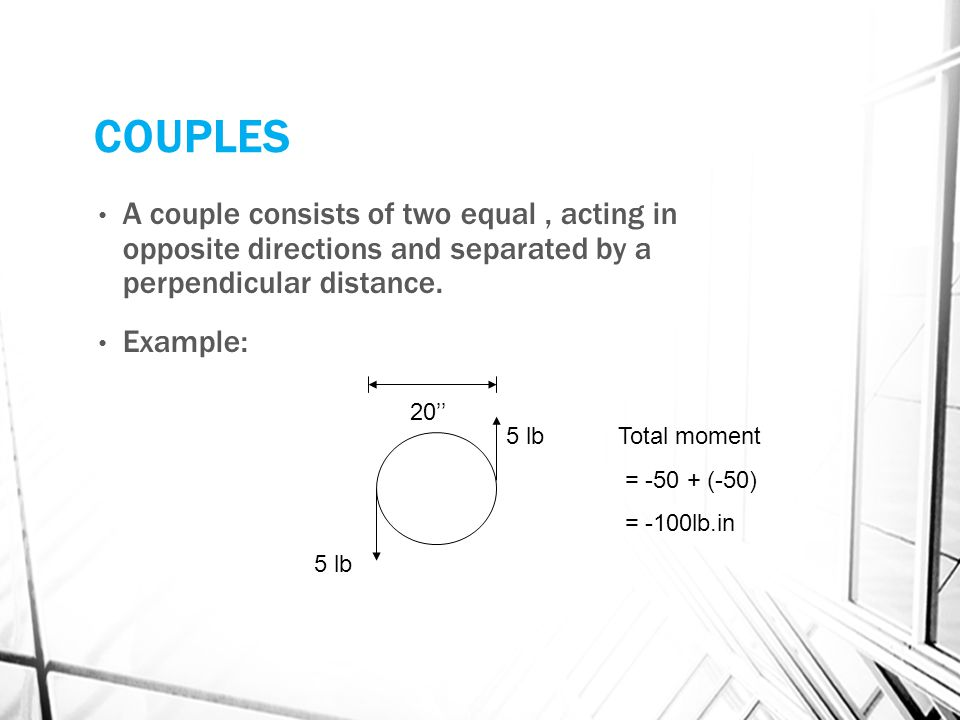 COUPLES A couple consists of two equal , acting in opposite directions and separated by a perpendicular distance.