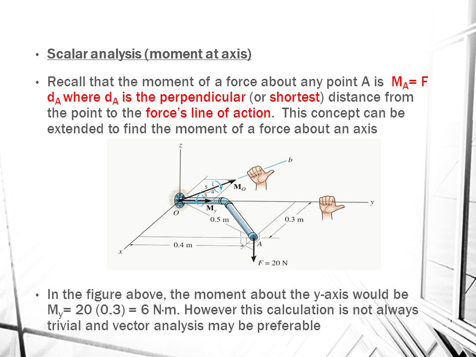 Scalar analysis (moment at axis)