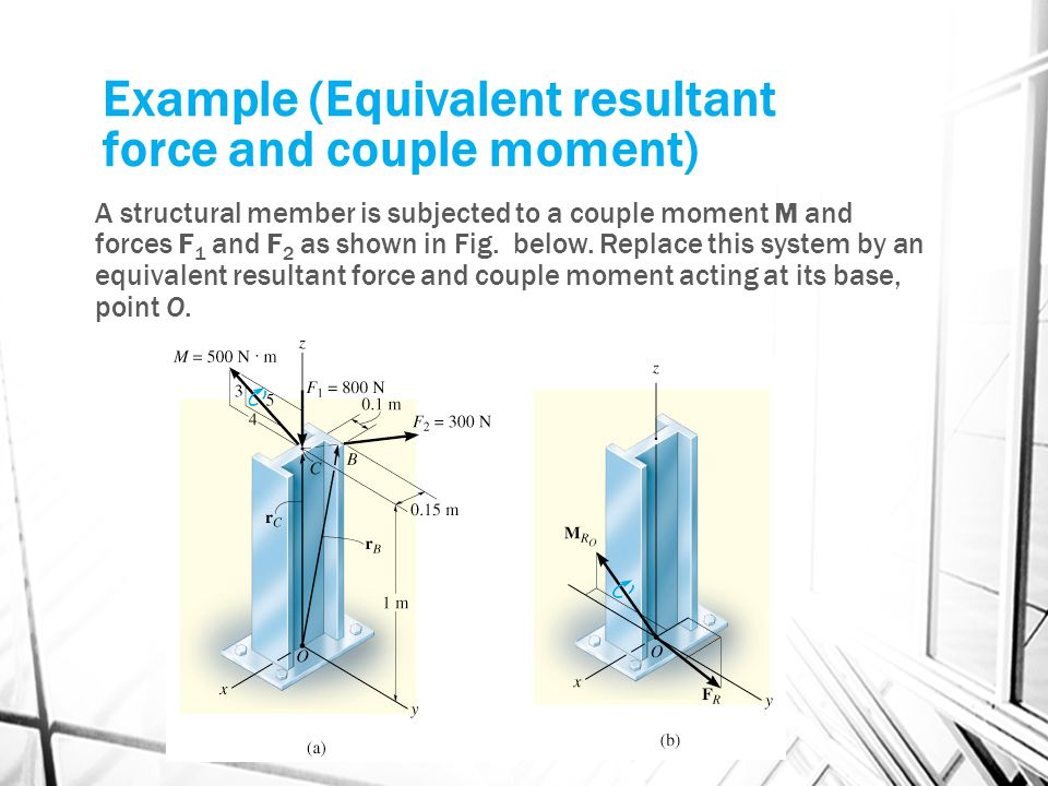 Example (Equivalent resultant force and couple moment)