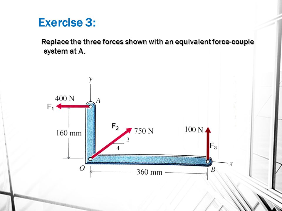 Exercise 3: Replace the three forces shown with an equivalent force-couple system at A. F1 F2 F3