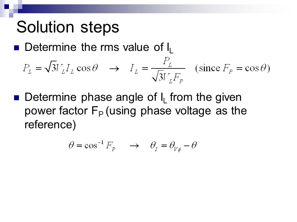 Solution steps Determine the rms value of IL