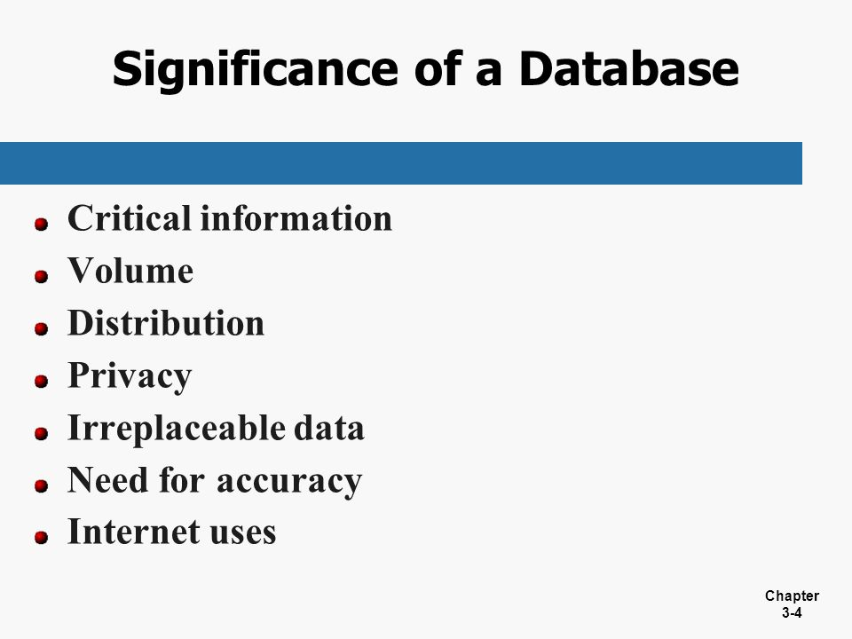 Significance of a Database