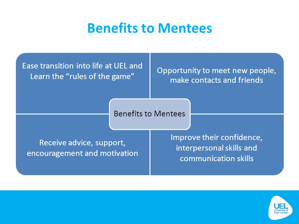 Benefits to Mentees Benefits to Mentees. Ease transition into life at UEL and Learn the rules of the game